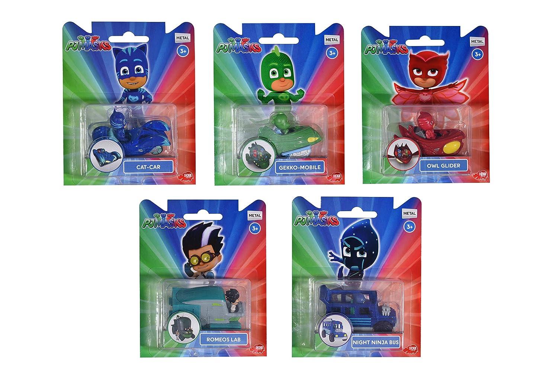 Veicolo Masques en Fonte sous Pression Mini Personaggio 7 cm – 5 Asst. (1 Accessoire) Pj Masks 203141005
