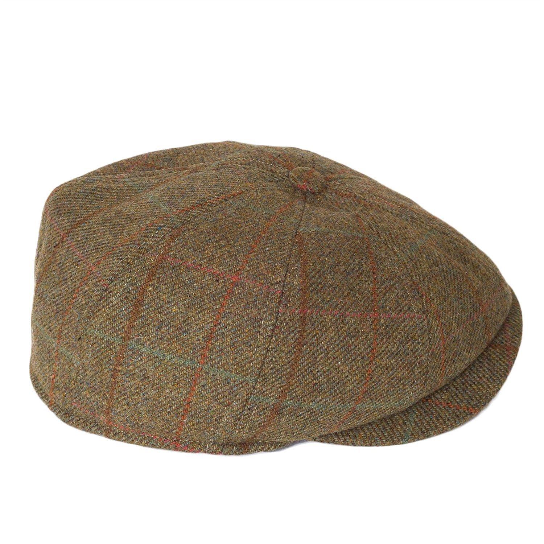 991b16d7 Men's Womens Ladies Unisex Wool Blend Baker/Paper Boy Flat Cap Hats 8 Panel  Overcheck Tweed with Teflon® Fabric Protector: Amazon.co.uk: Clothing