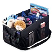 WEIKER Car Seat Storage Organizer - Travel Accessories Portable Collapsible Console Front Back Floor Trunk Cargo Box with Mesh Cup Holder, 2 Adjustable Dividers and Shoulder Strap for Kids