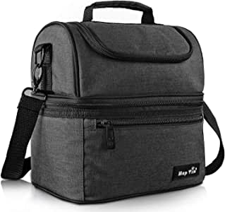 Hap Tim Lunch Box Insulated Lunch Bag Large Cooler Tote Bag for Adult,Men,Women,Kid, Double Deck Cooler for Office/School/Picnic(AU16040-DG)