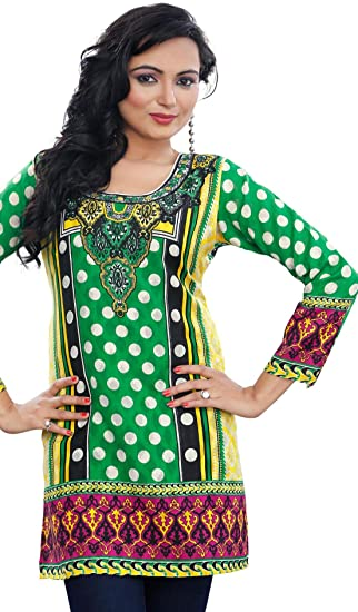 d26ff518f3d08 Indian Long Kurti Top Tunic Printed Womens India Clothes (Green