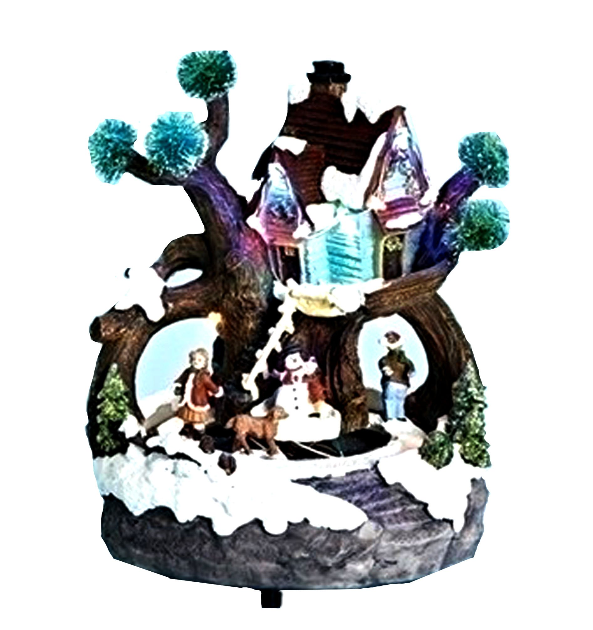 8'' LED Tree House With Snowman And Kids Battery Operated Without Batteries Plays Various Christmas Songs by Roman