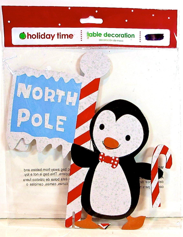 Pingüino Polo Norte Decoración de mesa, color blanco purpurina ...