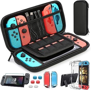 HEYSTOP Nintendo Switch Accesorio, Nintendo Switch Funda + Funda de Transporte para Nintendo Switch + Nintendo Switch Protector de Pantalla + Apretones de Pulgar: Amazon.es: Electrónica