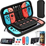 HEYSTOP Case Compatible with Nintendo Switch Carry Case 9 in 1 Pouch Switch Cover Case HD Switch Screen Protector Thumb…