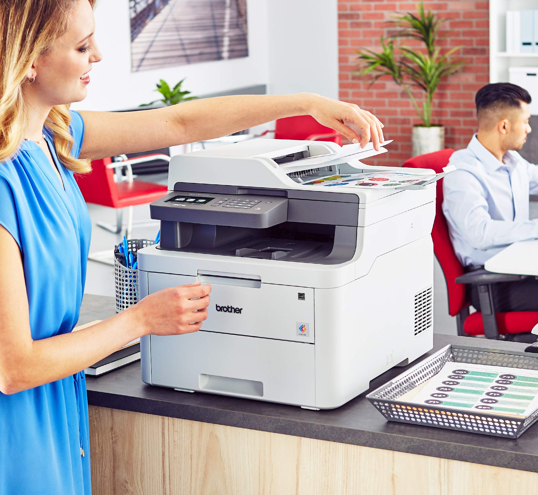Brother MFC-L3710CW Compact Digital Color All-in-One Printer Providing Laser Printer Quality Results with Wireless, Amazon Dash Replenishment Enabled by Brother (Image #3)