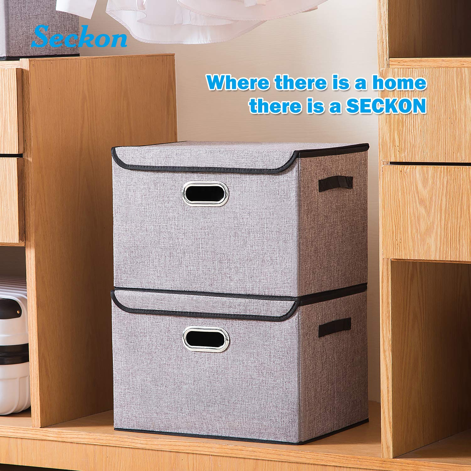 2Pack Seckon Collapsible Storage Box Container Bins with Lids Covers Toys Bedroom Closet Large Odorless Linen Fabric Storage Organizers Cube with Metal Handles for Office