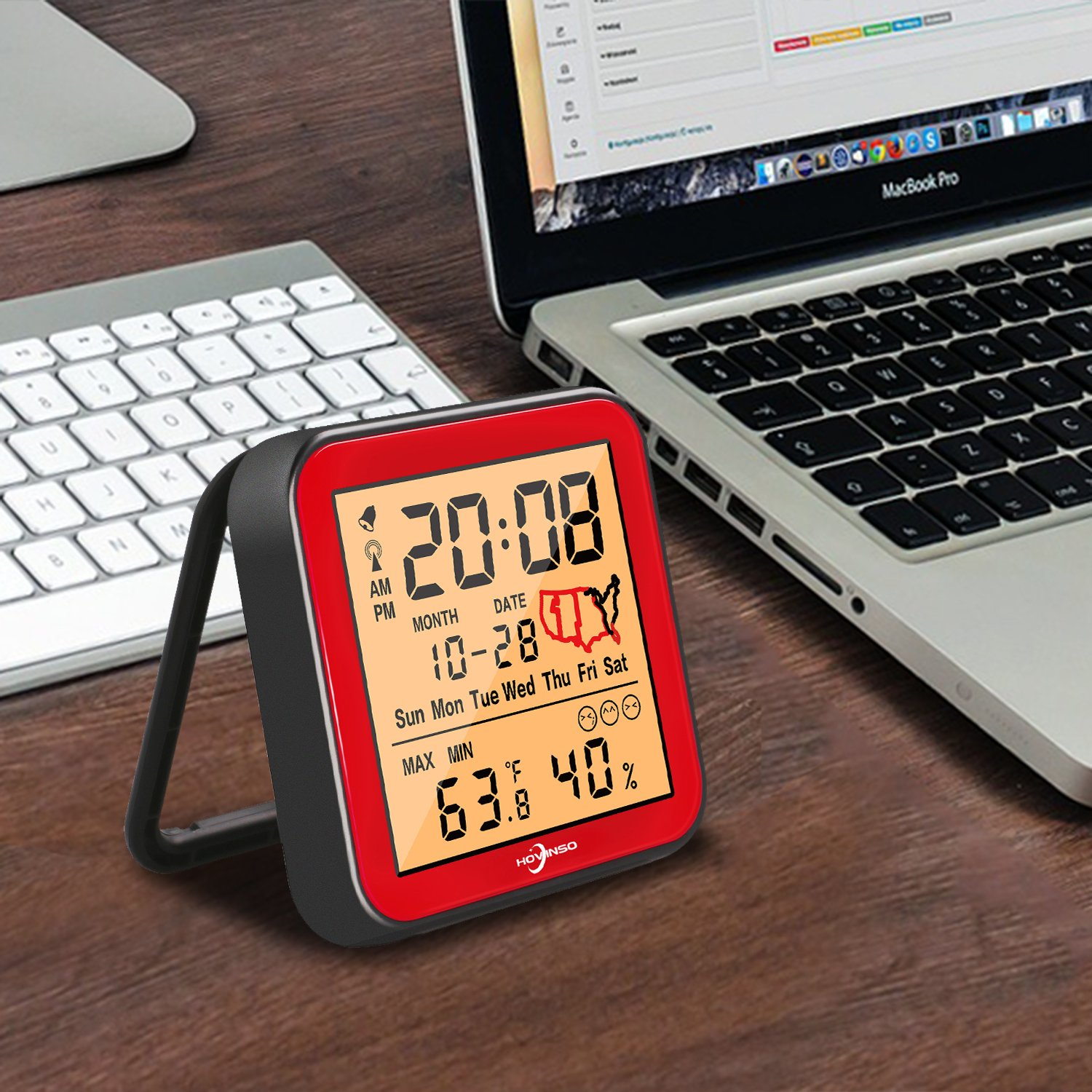 Hovinso Weather Station Clock with Temperature and Humidity Monitor, Indoor Wireless Radio Atomic Alarm Clock for Home Bedroom by Hovinso (Image #8)