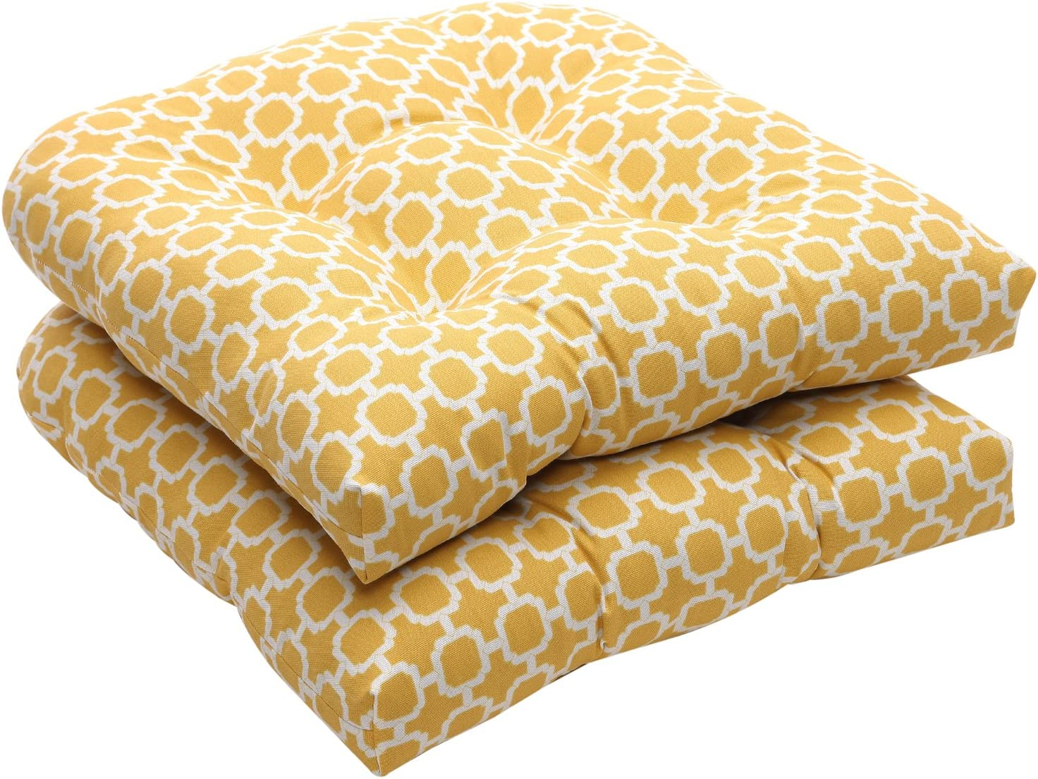 Pillow Perfect Indoor/Outdoor Yellow/White Geometric Wicker Seat Cushions, 2-Pack