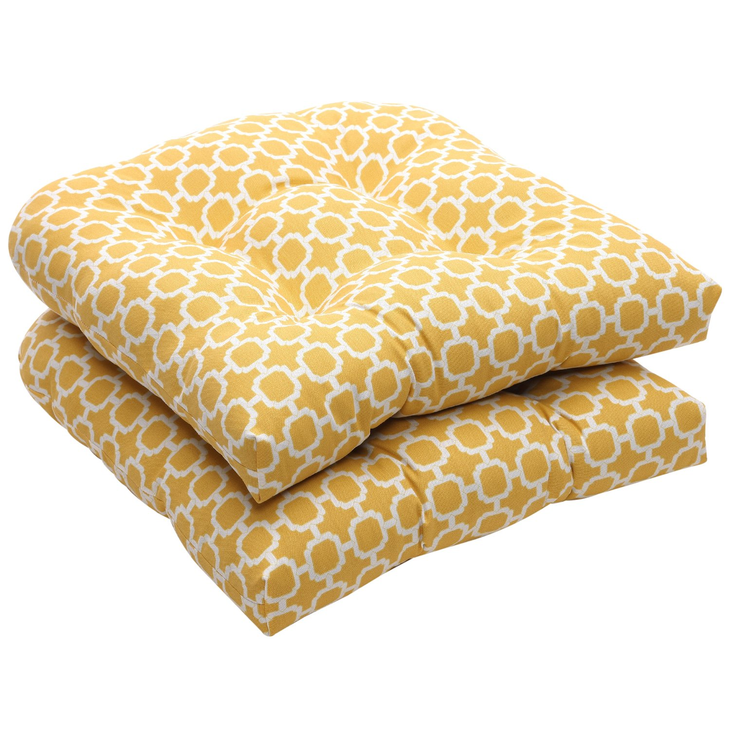 amazoncom pillow perfect yellowwhite geometric wicker seat cushions 2pack home u0026 kitchen