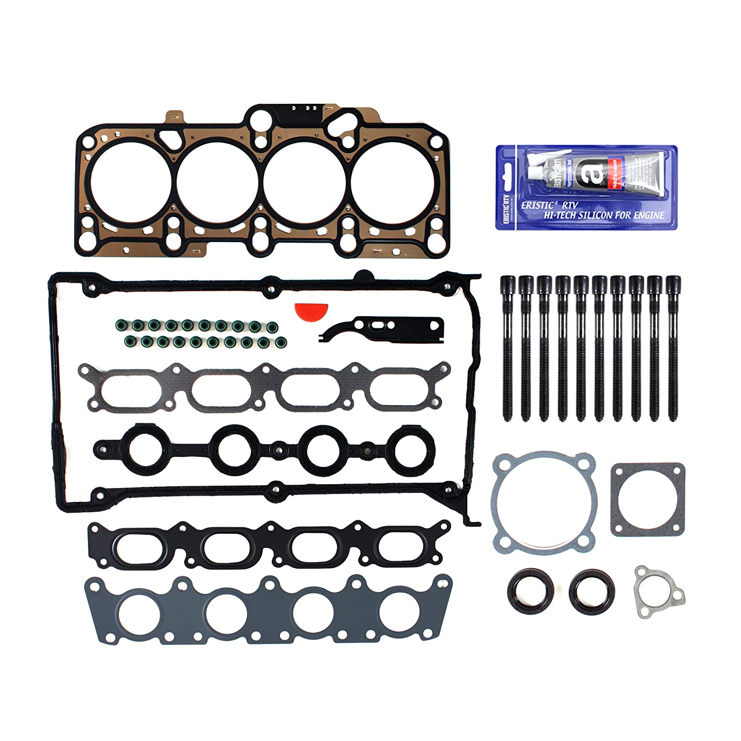 New EH1652X1HBSI-1 Cylinder Head Gasket Set, RTV Silicone, & (136mm) Head Bolt Kit by CNS EngineParts: Amazon.es: Coche y moto