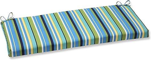 Pillow Perfect Outdoor/Indoor Topanga Stripe Lagoon Bench/Swing Cushion