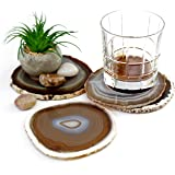 """The Royal Gift Shop: Gift Set of Four Genuine Brazilian 4""""-5"""" Natural Agate Drink Coasters"""