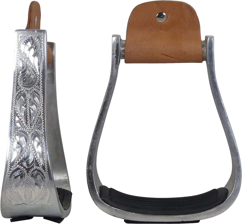 APPALERO Estribos Western de aluminio, no Slip, recto, grabado, natural
