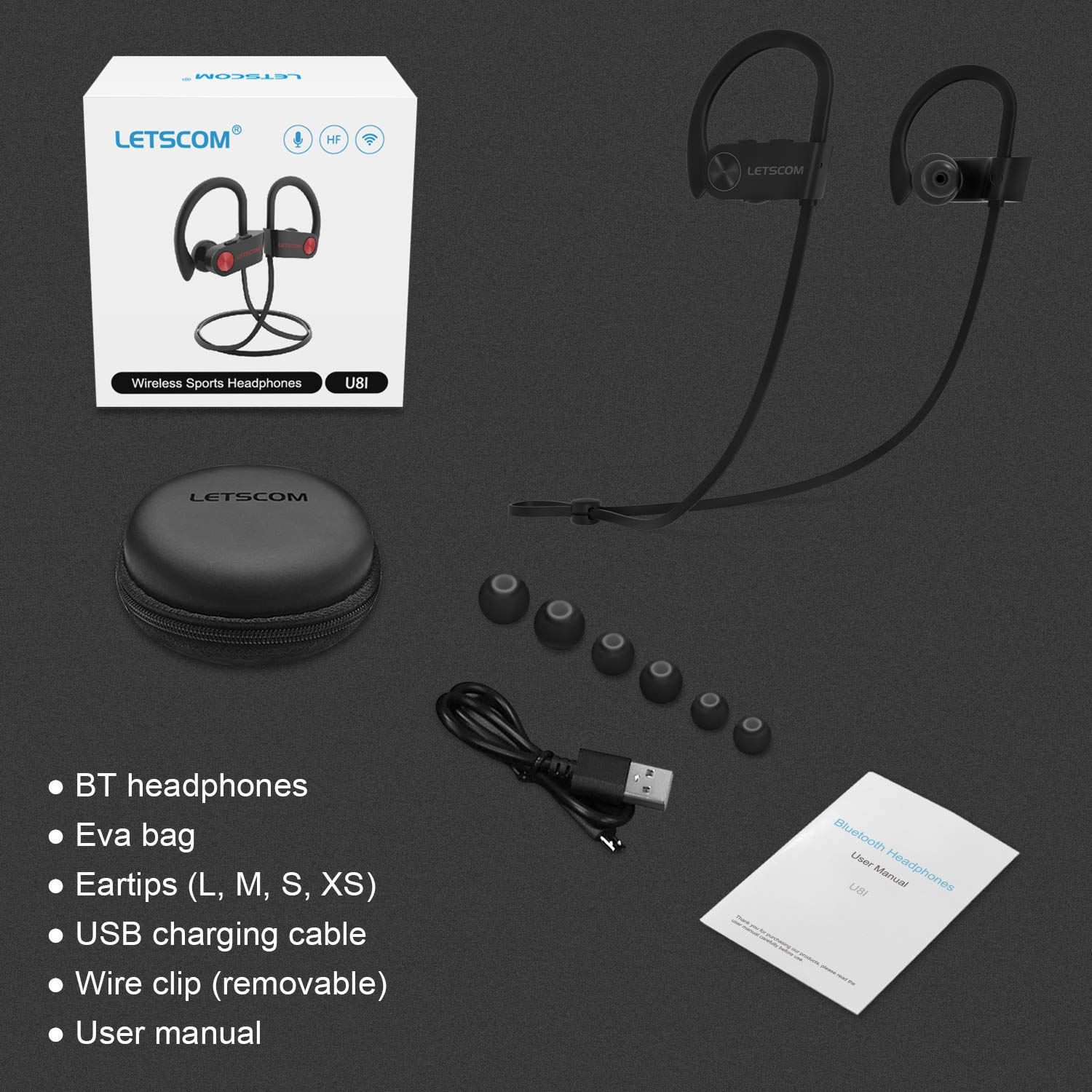 Bluetooth Headphones, LETSCOM Wireless Earbuds IPX7 Waterproof Noise Cancelling Headsets, Richer Bass & HiFi Stereo Sports Earphones 8 Hours Playtime Running Headphones with Travel Case by LETSCOM (Image #8)