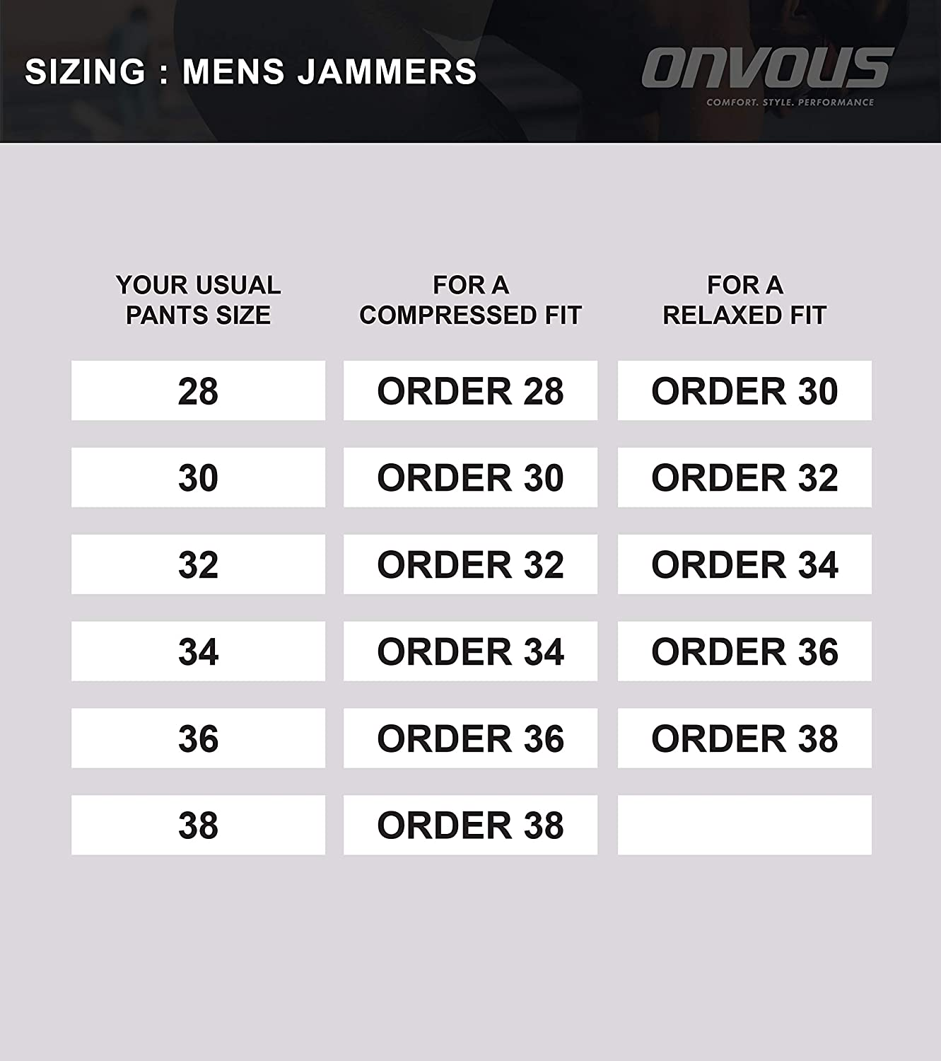 Onvous Mens Durable Training Jammer Practice Swimsuit with Full Inside Liner Sizes 30-36 Comfortable /& Reliable