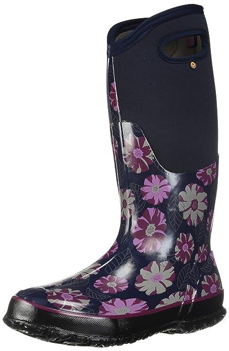 BOGS Women's Classic Printed Rubber Snow Boot, Tall Dark Blue Multi, 6 Medium US best women's snowboots