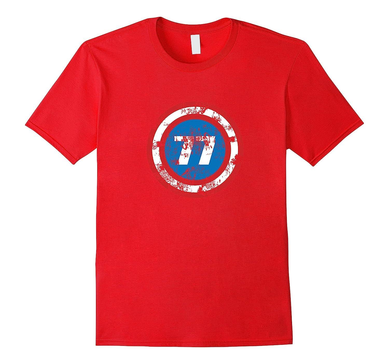 40th Birthday, Distressed Look, 77 Superhero Shield T-shirt-TH