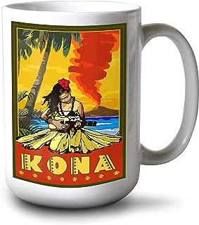 product image for Lantern Press Kona, Hawaii - Hula Girl and Ukulele (15oz White Ceramic Mug)
