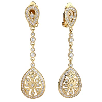 EVER FAITH Art Deco Classical Gatsby Inspired Cubic Zirconia Chandelier Clip On Earrings Gold