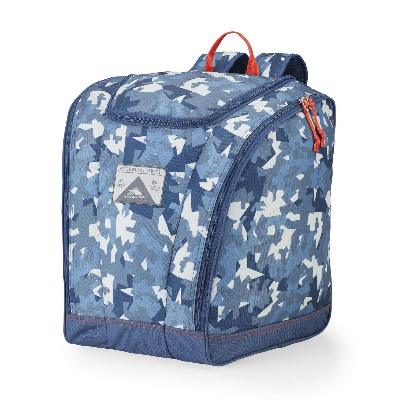 High Sierra Ski Boot Trapezoid Boot Bag, Razor Camo/Rustic Blue/Redline