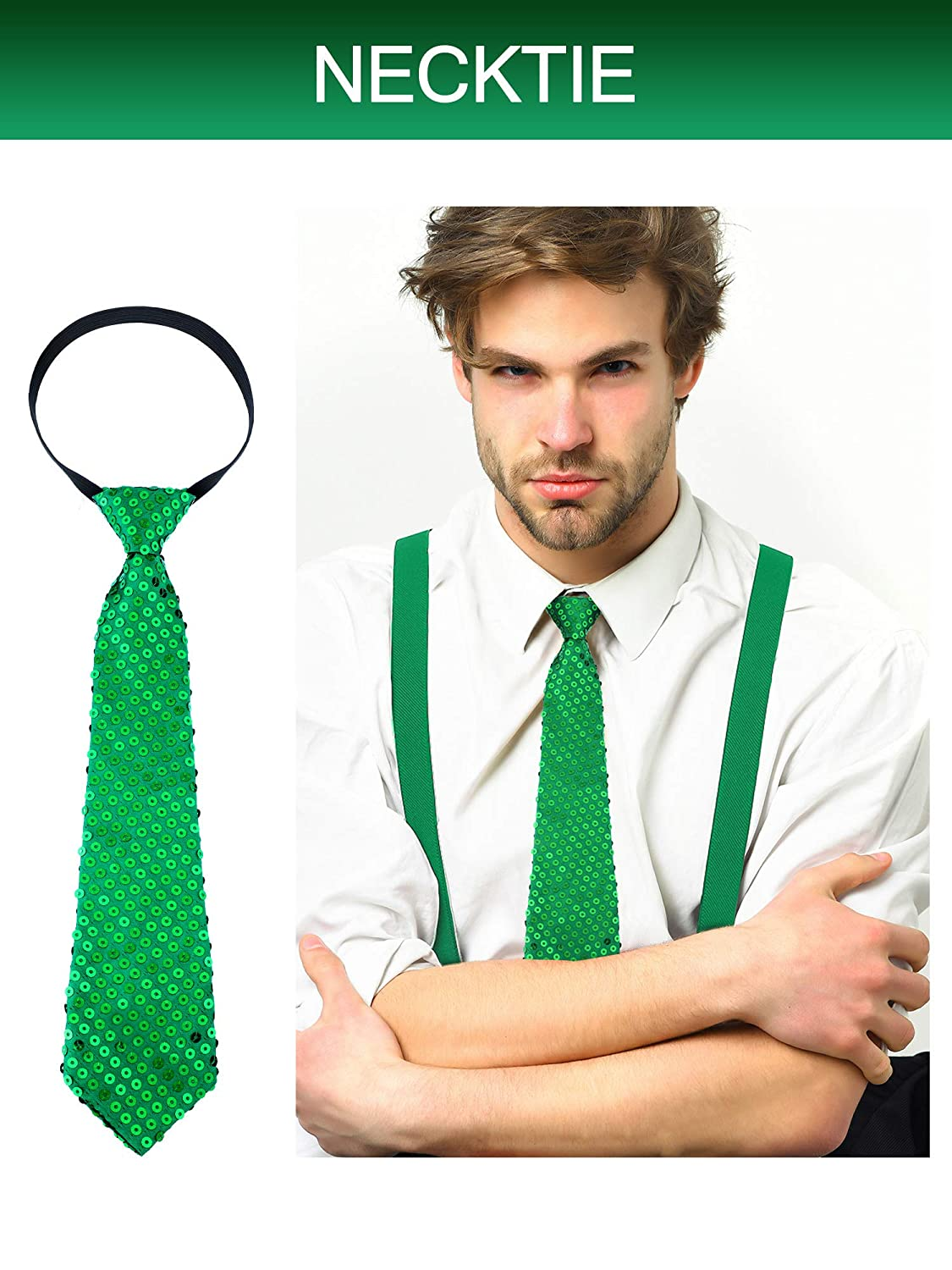 Patrick/'s Day Accessories 3 Pieces Patricks Day Costume Accessory Adjustable Pre-tied Bowtie Green Shamrock Necktie for Men Women St Blackish Green Chuangdi Y Back Suspender Pre-tied Bowtie Green Clover Necktie for St
