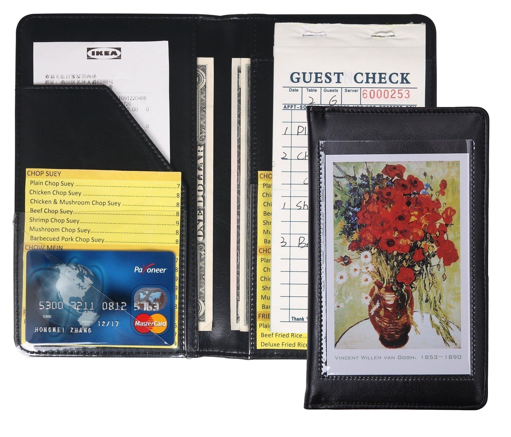Mymazn Waiter Book Server Wallet Server Pads Waitress book Restaurant Waitstaff Organizer, Guest Check Book Holder Money Pocket Fit Server Apron (Black)