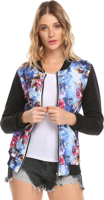 ODlover Womens Long Sleeve Casual Zip Up Floral Print Pocket Jacket Baseball Jacket