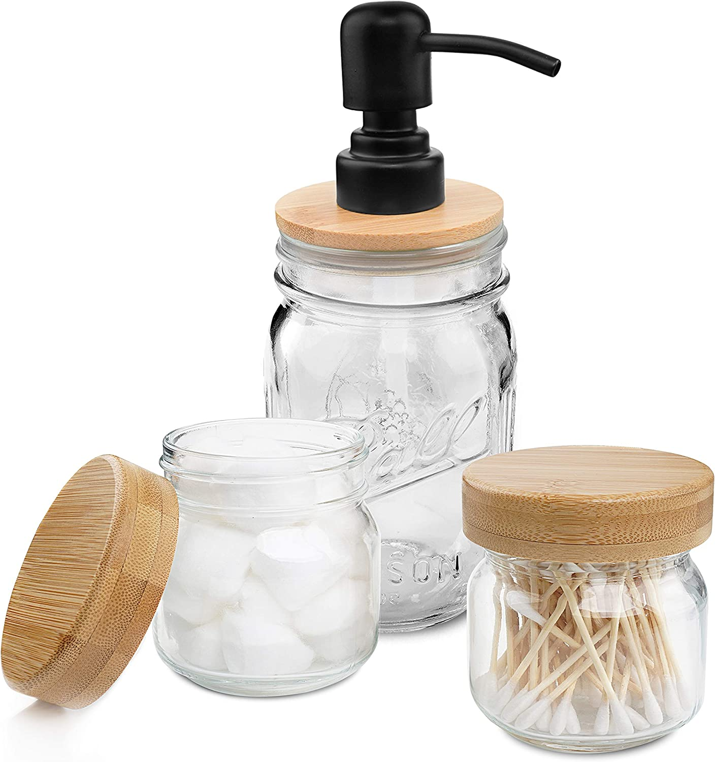 Mason Jar Bathroom Accessories Set, Includes Liquid Hand Mason Jar Soap Dispenser and 2 Apothecary Jars with Bamboo Lids-Rustic Farmhouse Decor Apothecary Jars Bathroom Countertop and Vanity Organizer
