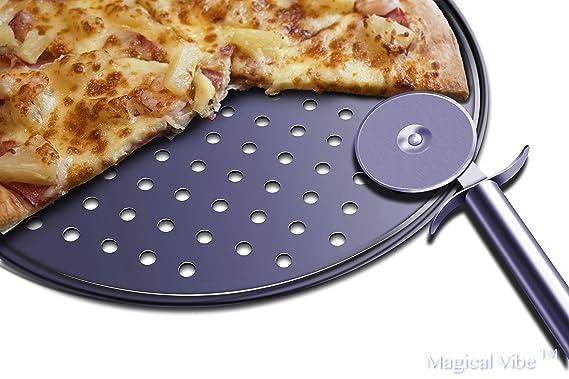 32 cm komplettes Set Magical Vibe Pizzablech-Set mit 2 antihaftbeschichteten Pfannen mit Pizzaschneider f/ür selbstgemachte Pizza