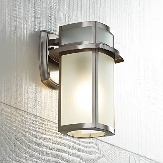 Delevan Modern Outdoor Wall Light Fixture Brushed Nickel 11 1 4 Frosted Seedy Glass Damp Rated For Exterior House Porch Patio Protected Walkway