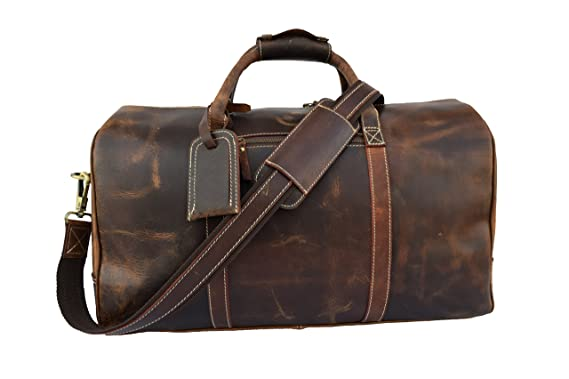 0d53409c8d Crazy Hunter Leather Duffle Bag Overnight Weekend Travel Bag Air Cabin  Carry On Luggage Handbag