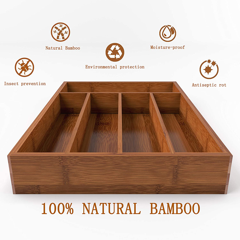 BAMEOS Drawer Organizer Bamboo Silverware Holder, Cutlery Tray Flatware and Utensil Organizer for Knife Spoon Tool Kitchen Garage -