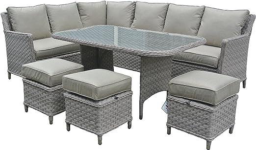 Ratán muebles de jardín juego de sofá en esquina con mesa de comedor: Amazon.es: Jardín