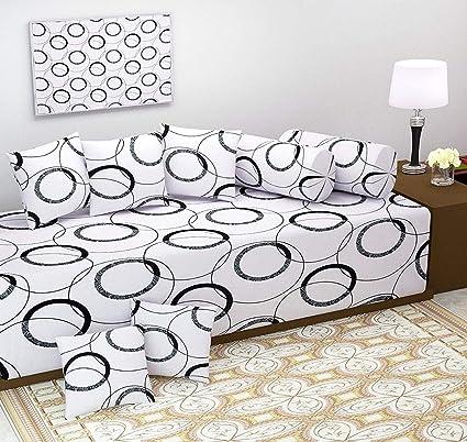 AEROHAVEN™ Geometric Design 100% Cotton 120 TC Designer Printed 8Pc Diwan Set(1 Single Bedsheet, 2 Bolster Covers, 5 Cushion Covers)
