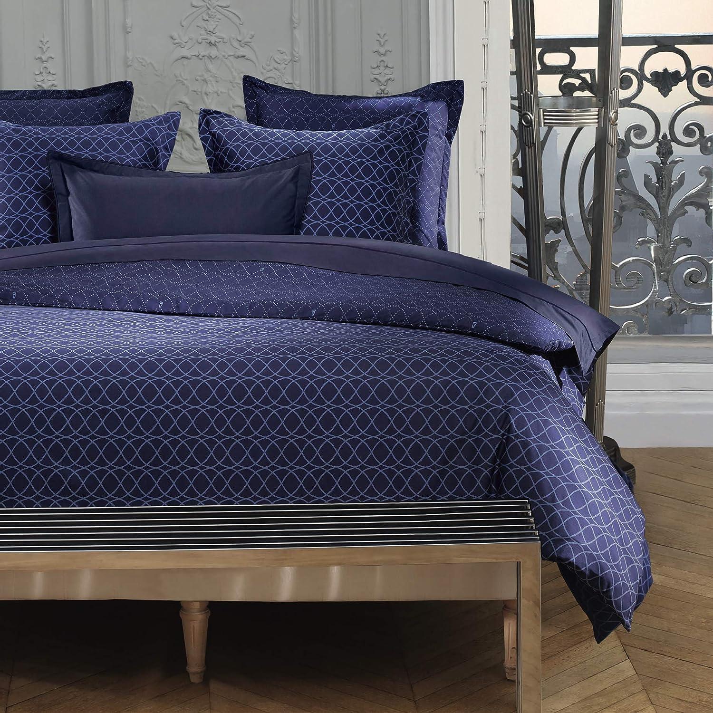 Cflagrant/® Housse De Couette 220x240cm 2 Personnes 2 Taies 65x65cm 100/% Percale de Coton 80 Fils//cm/² Grande Marque Azzaro Bleu