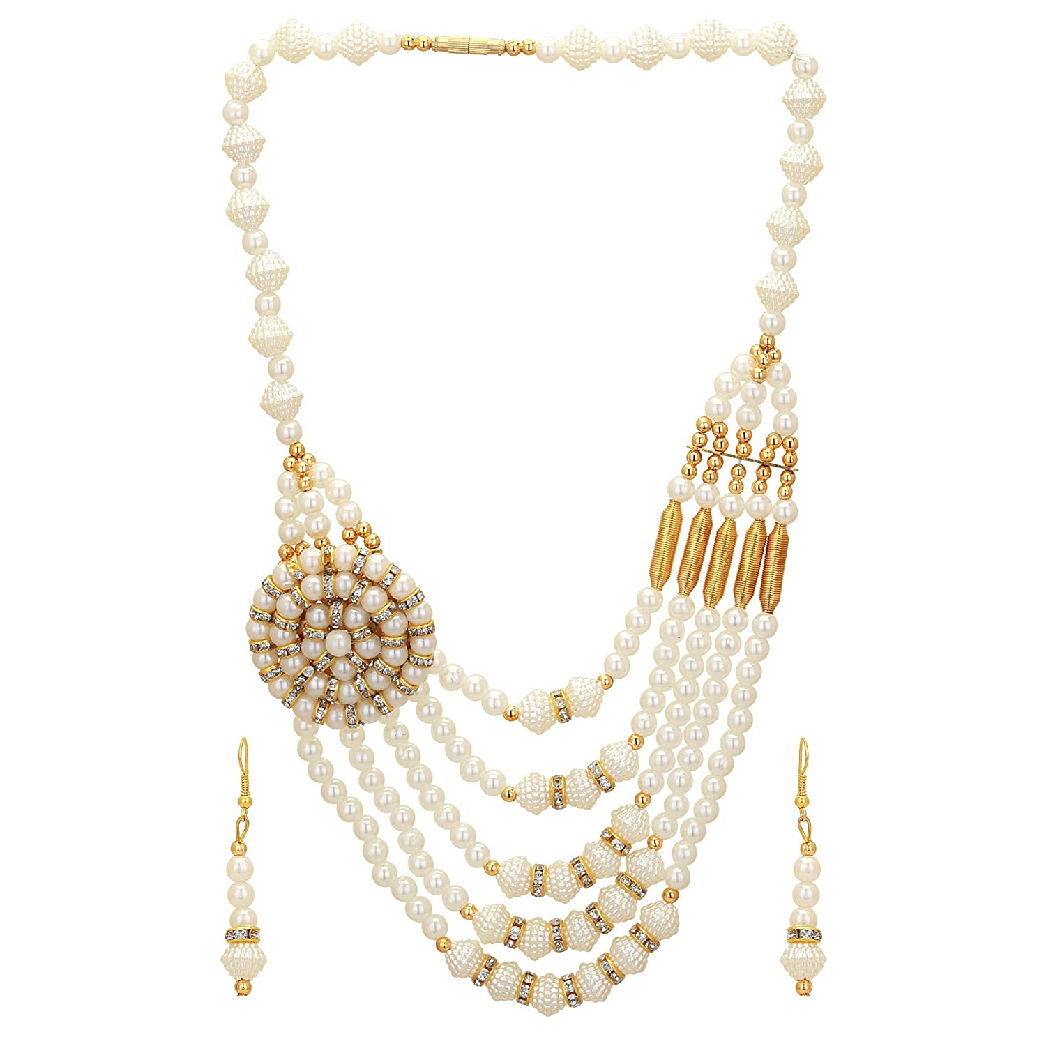 a1dc2f260b9 Buy Aarvi Collections Gold Plated Multi Strand Necklace with Beautiful  Creamy Pearls for Women Girls. Online at Low Prices in India