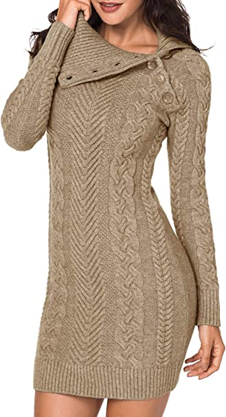 Women,s Turtleneck Elasticity Chunky Cable Knit Pullover Sweaters Jumper