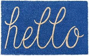 DII CAMZ35975 Hello Coir Doormat, 18 x 30, Blue