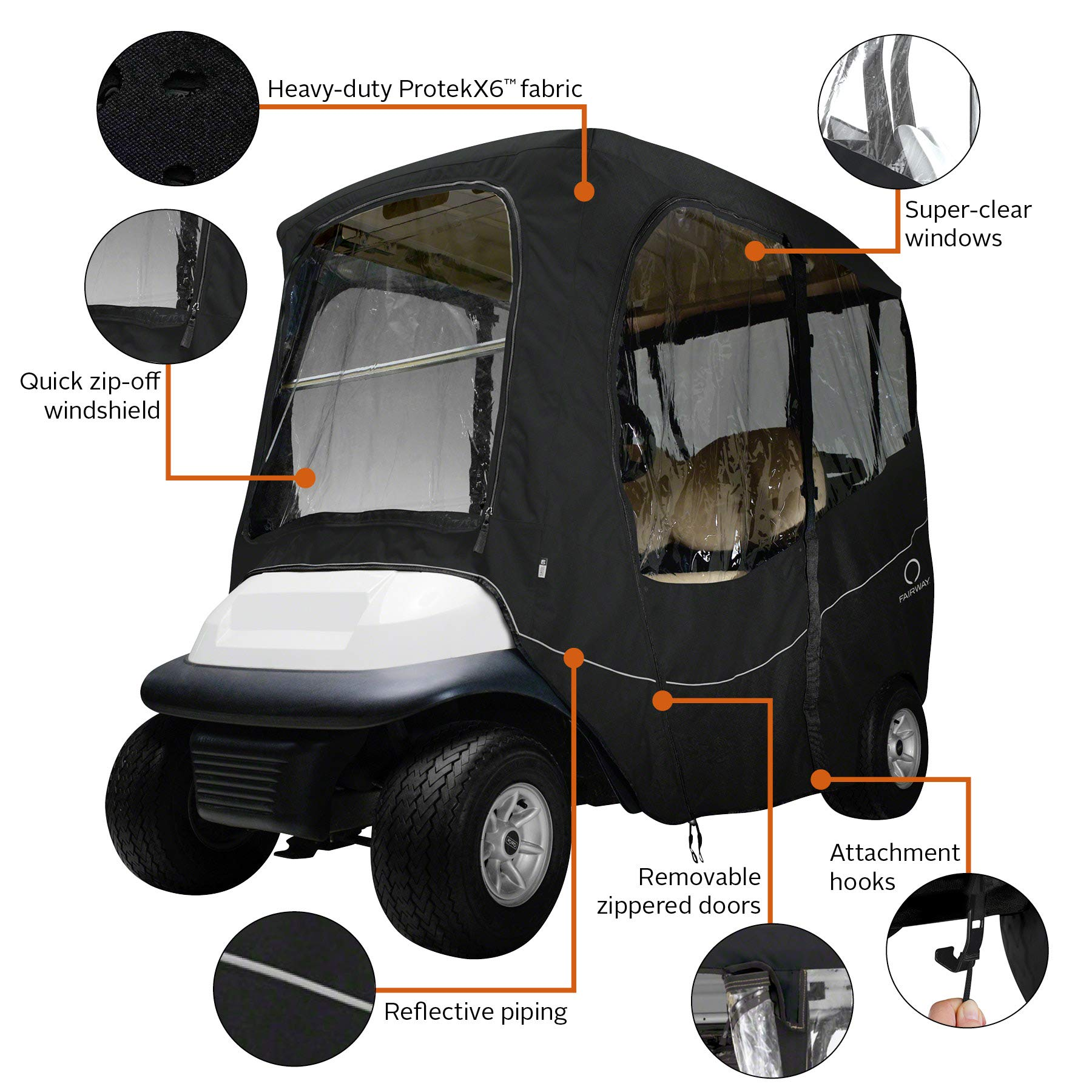 Classic Accessories Fairway Golf Cart Deluxe Enclosure, Black, Short Roof by Classic Accessories (Image #3)