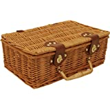 """Wald Imports Brown Wicker 13"""" Picnic Basket"""