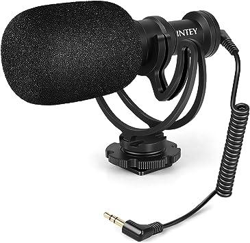 INTEY Micrófono de escopeta, micrófono de vídeo, micrófono de cámara estéreo con soporte a prueba de golpes y bolsa de transporte, profesional, para cámaras Nikon, Canon, videocámara DV y smartphone: Amazon.es: Electrónica