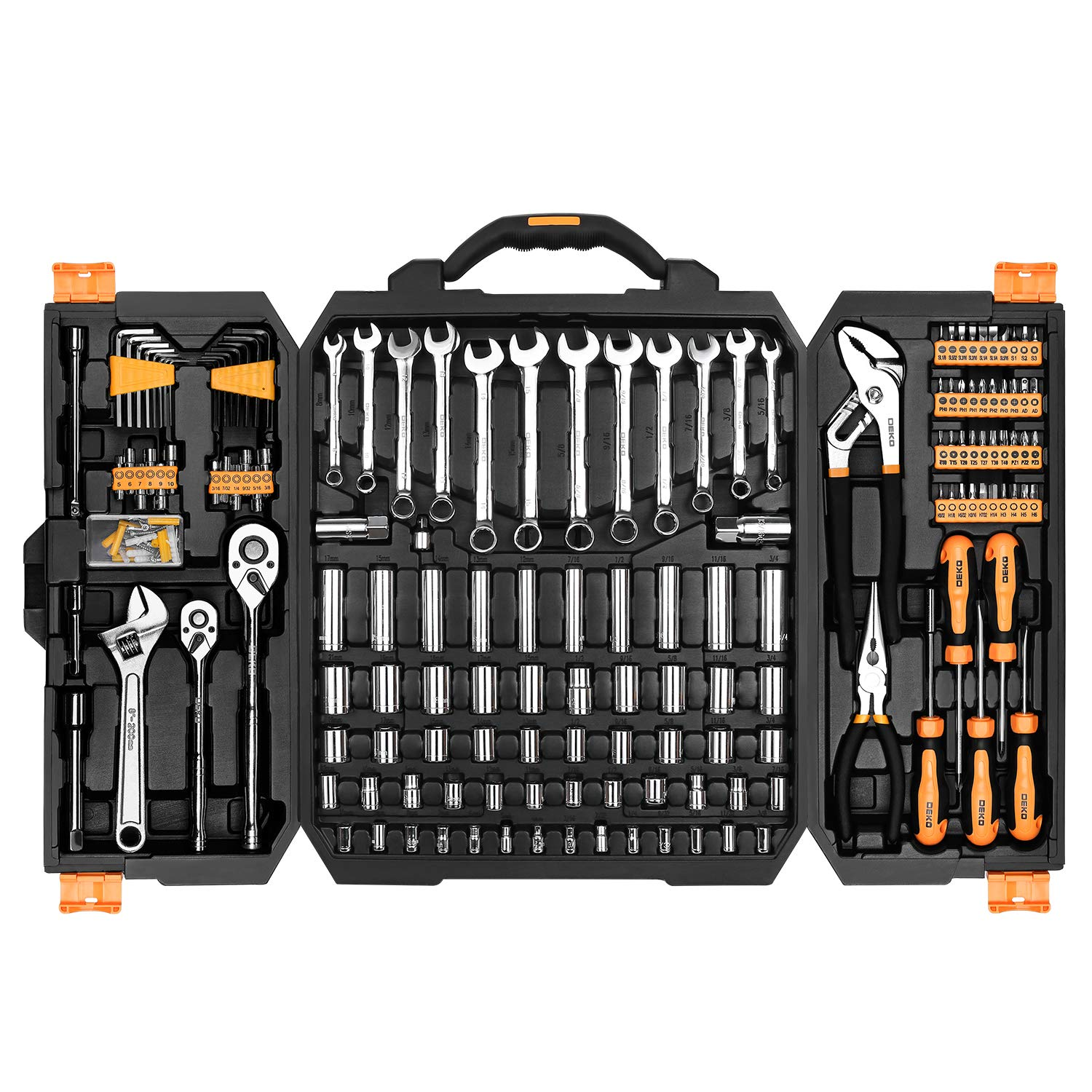DEKOPRO 192 Piece Mechanics Tool Set Socket Wrench Set,Auto Repair Hand Tool Kit Wrench Tool Box Set with Plastic Storage Case