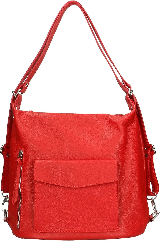 Aren - Bolso de mujer en cuero auténtico Made in Italy - 37x29x13 Cm Rojo