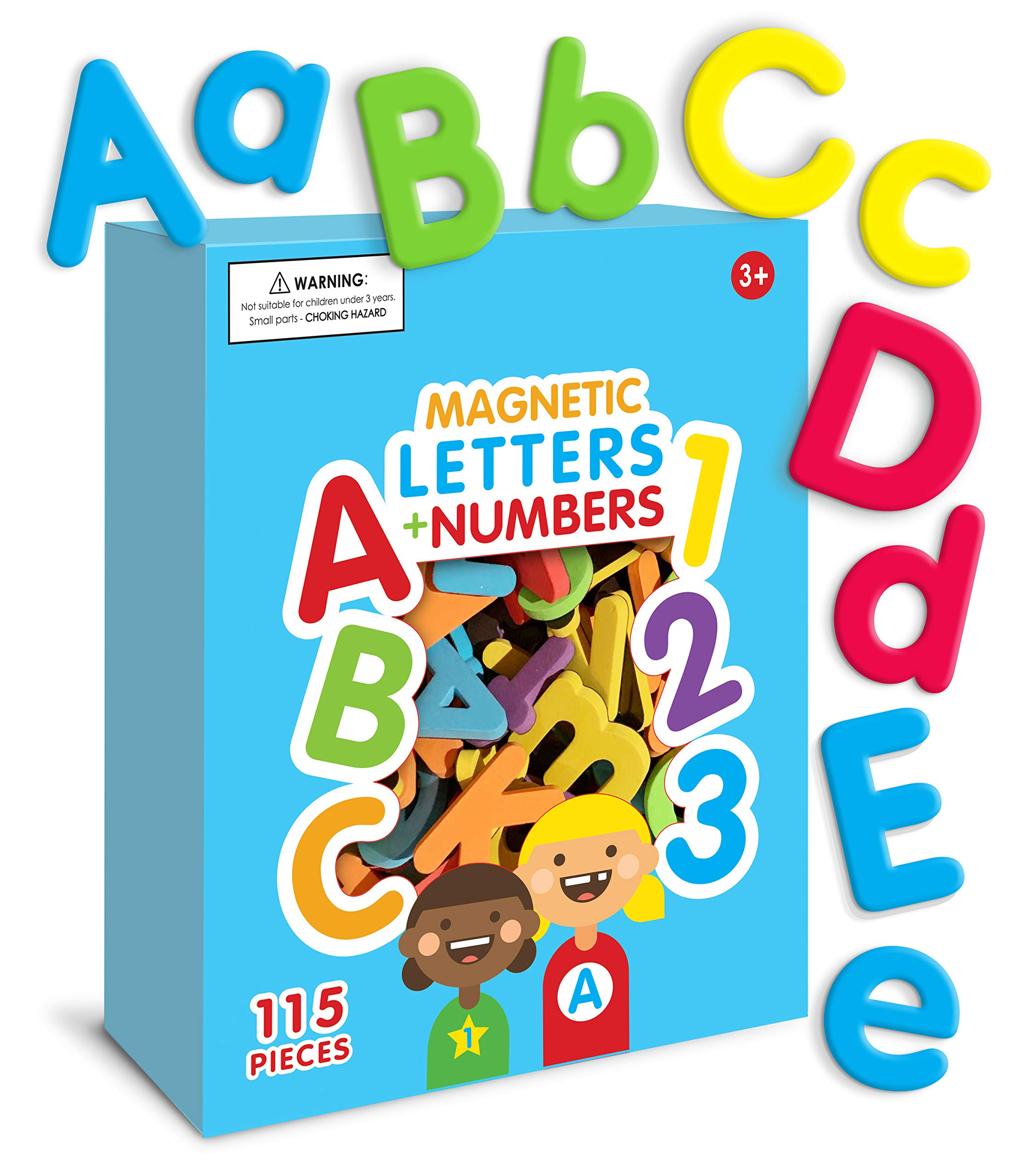 Curious Columbus Magnetic Letters and Numbers. 115 Colorful ABC, 123 Foam Alphabet Magnets Educational Toy for Preschool Pre-K Spelling, Counting by Curious Columbus
