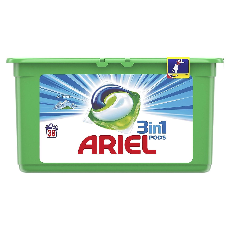 Ariel 3en1 Pods Detergente Cápsulas, Alpine, Limpieza Increíble, Limpia, Quita Manchas, Ilumina - 38 Lavados: Amazon.es: Amazon Pantry
