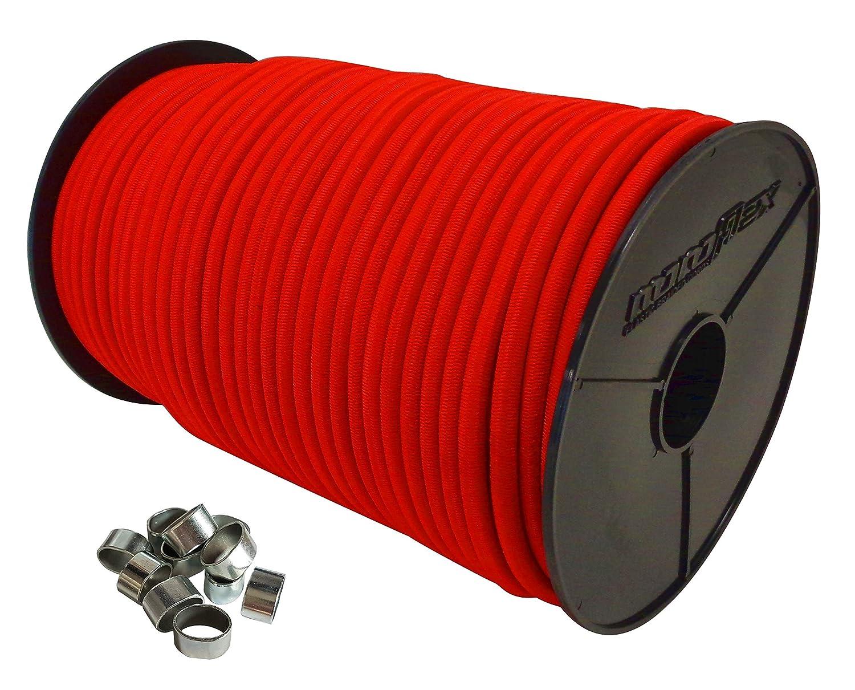 10mm Expanderseil 10 m Gummiseil + 10 Wü rgeklemmen Gummileine Planenseil Seil Plane in Rot