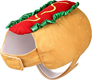 POPETPOP Hot Dog Design Pet Costume, Funny Warm Hoodie for Dogs and Cats, Halloween Christmas Apparel Cosplay for Puppies and Kitten