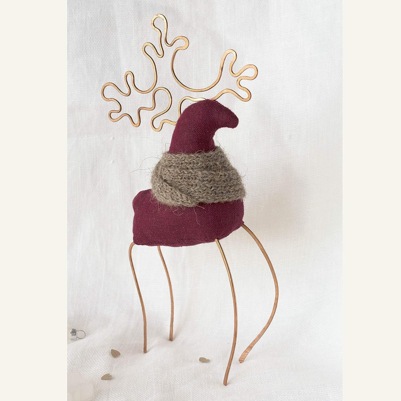 Christmas figurine 2020 primitive reindeer doll deer ornament Scandinavian folk toy textile interior toy Christmas decor 9.8 inches