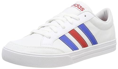 buy popular e6446 d5b70 adidas Men s Vs Set Tennis Shoes, White Ftwwht Blue Scarle, ...